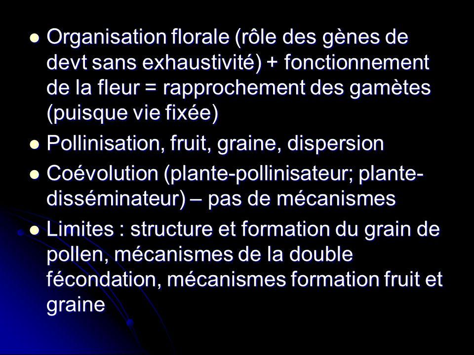 Organisation florale (rôle des gènes de devt sans exhaustivité) + fonctionnement de la fleur = rapprochement des gamètes (puisque vie fixée)