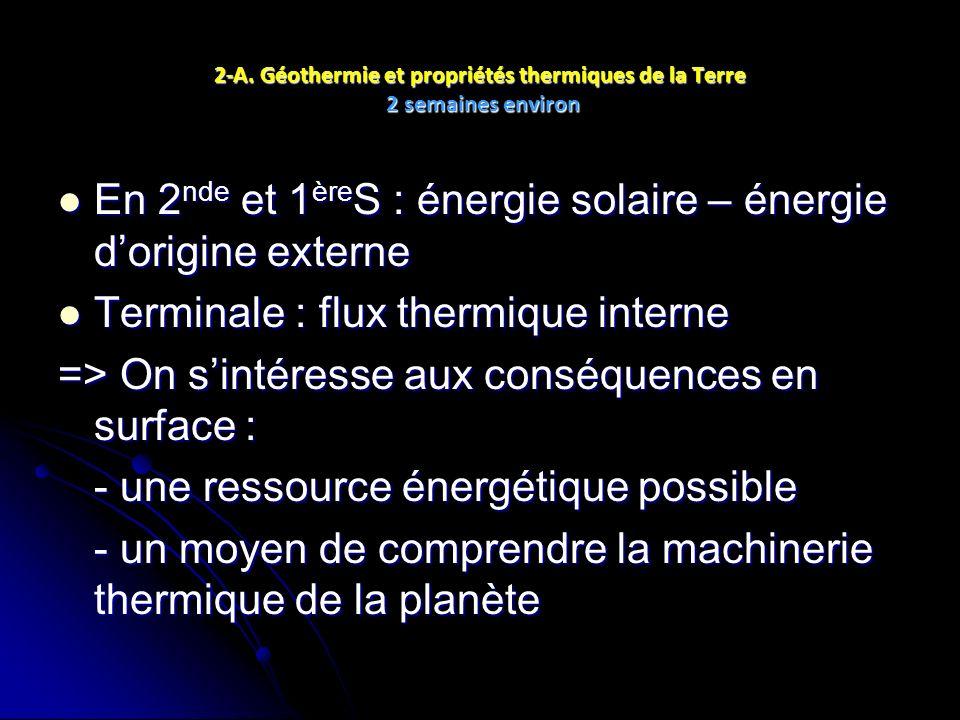 En 2nde et 1èreS : énergie solaire – énergie d'origine externe