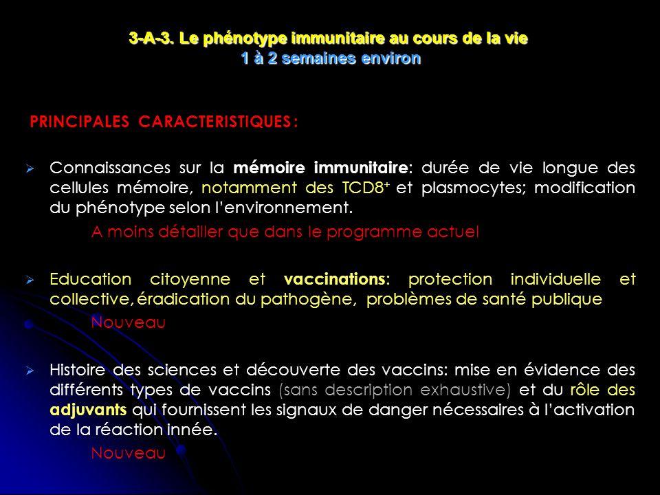 3-A-3. Le phénotype immunitaire au cours de la vie 1 à 2 semaines environ