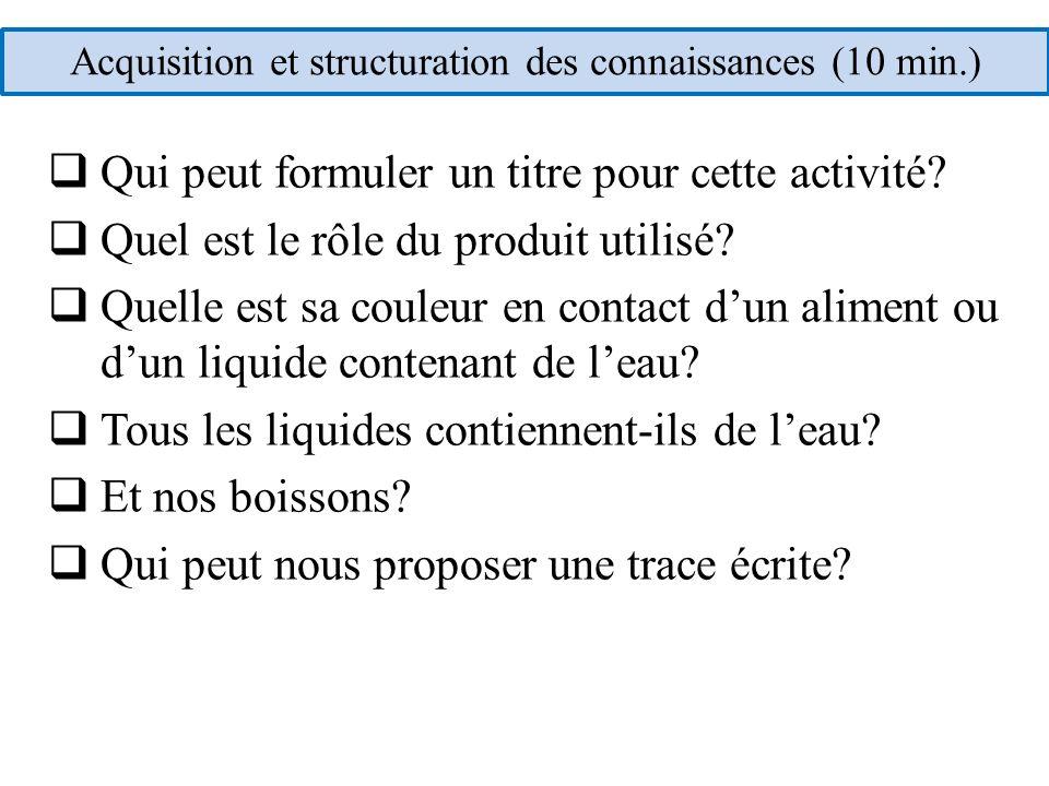 Acquisition et structuration des connaissances (10 min.)