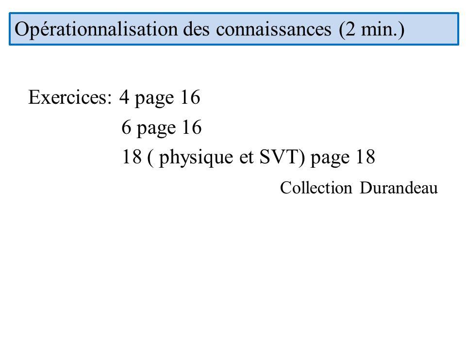 Opérationnalisation des connaissances (2 min.)