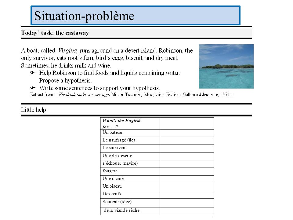 Situation-problème What's the English for….. Un bateau