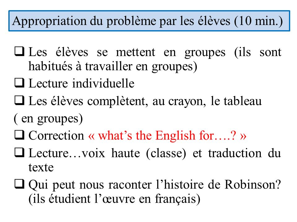 Appropriation du problème par les élèves (10 min.)