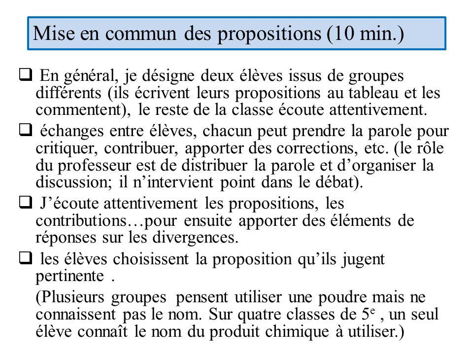 Mise en commun des propositions (10 min.)