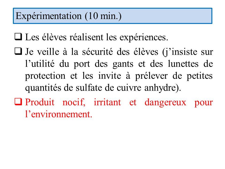 Expérimentation (10 min.)