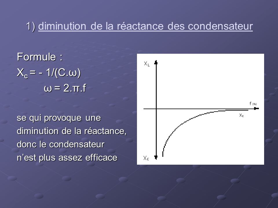 1) diminution de la réactance des condensateur