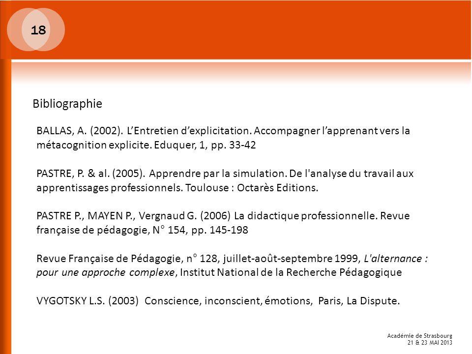 18Bibliographie. BALLAS, A. (2002). L'Entretien d'explicitation. Accompagner l'apprenant vers la métacognition explicite. Eduquer, 1, pp. 33-42.
