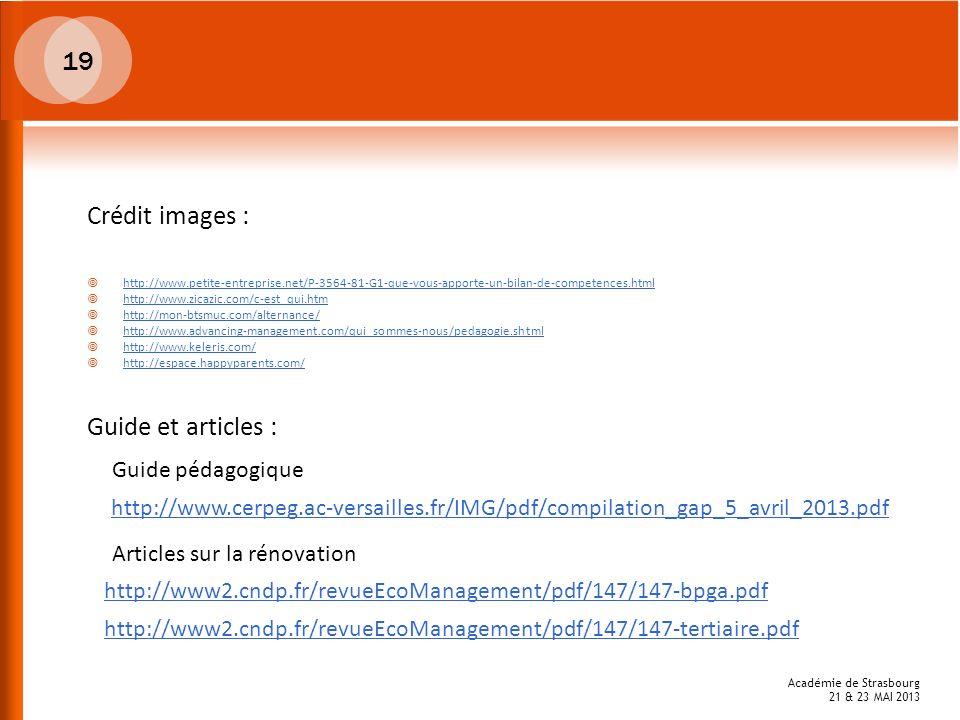 19 Crédit images : Guide et articles : Guide pédagogique
