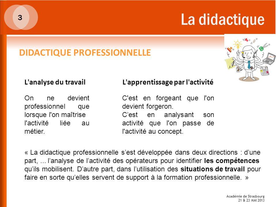 La didactique DIDACTIQUE PROFESSIONNELLE 3 L analyse du travail