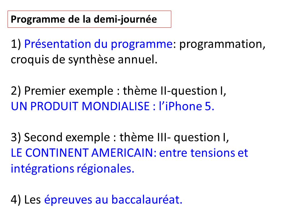 2) Premier exemple : thème II-question I,