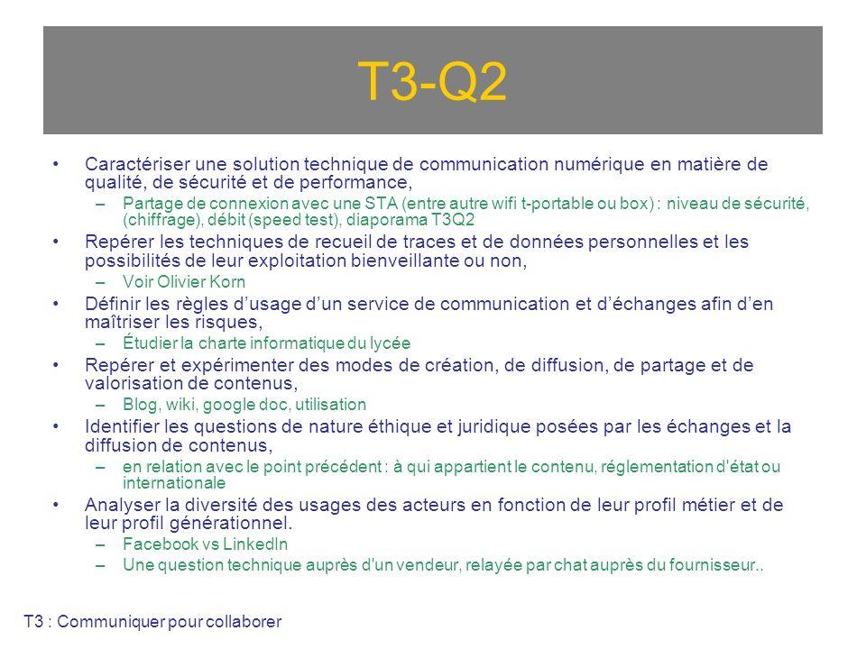 T3-Q2 Caractériser une solution technique de communication numérique en matière de qualité, de sécurité et de performance,