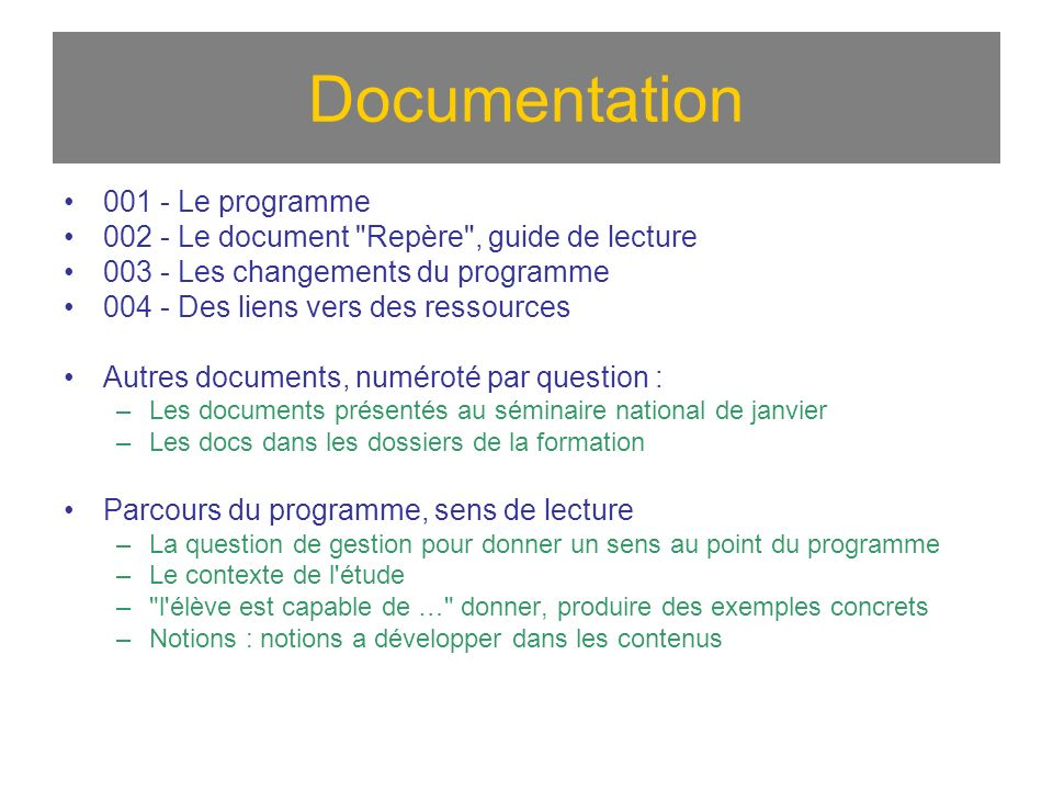 Documentation 001 - Le programme