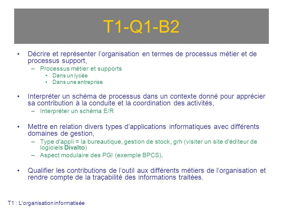 T1-Q1-B2 Décrire et représenter l'organisation en termes de processus métier et de processus support,