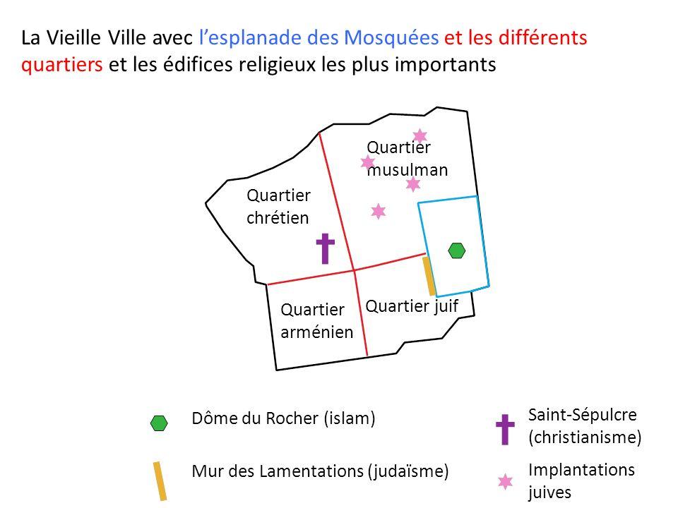 La Vieille Ville avec l'esplanade des Mosquées et les différents quartiers et les édifices religieux les plus importants
