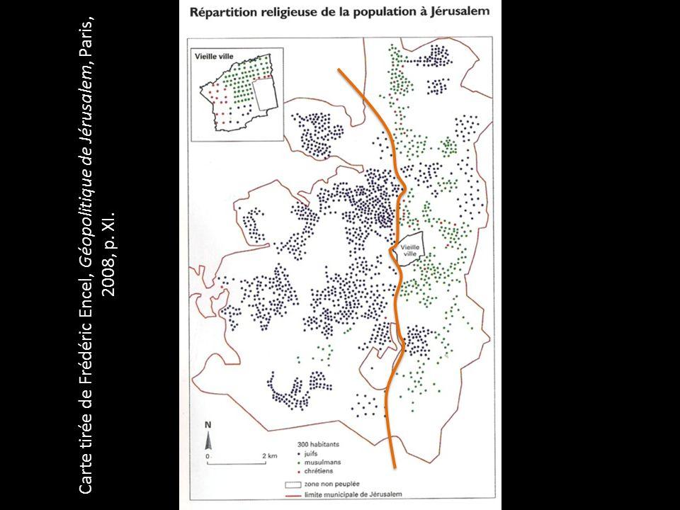 Carte tirée de Frédéric Encel, Géopolitique de Jérusalem, Paris, 2008, p. XI.