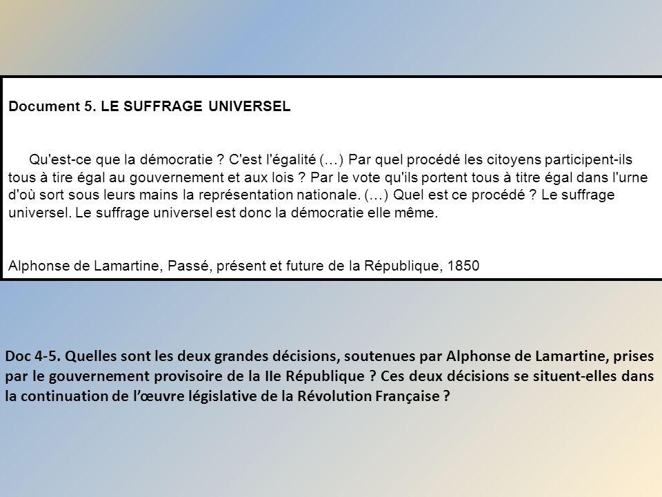 Document 5. LE SUFFRAGE UNIVERSEL Qu est-ce que la démocratie
