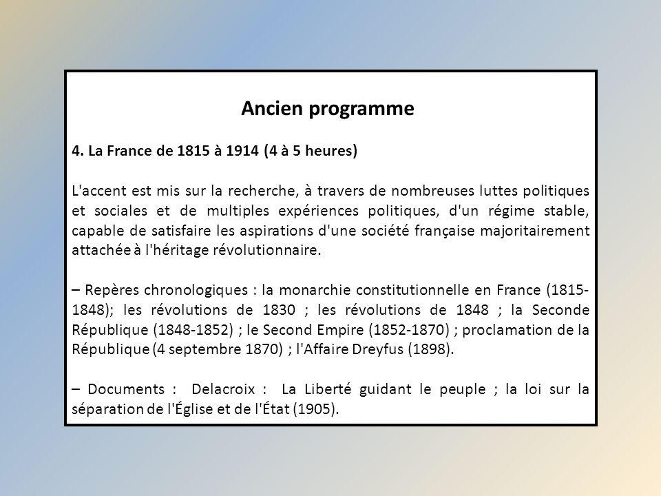 Ancien programme 4. La France de 1815 à 1914 (4 à 5 heures)