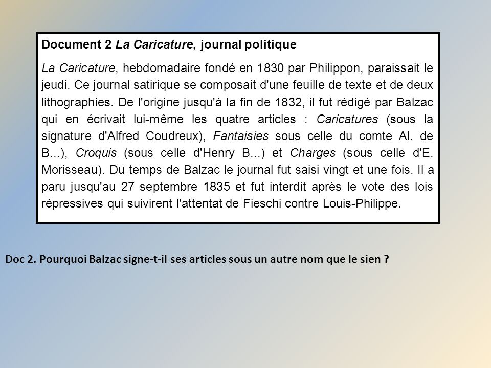 Document 2 La Caricature, journal politique