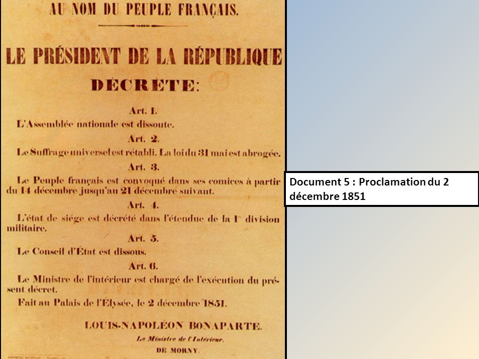 Document 5 : Proclamation du 2 décembre 1851