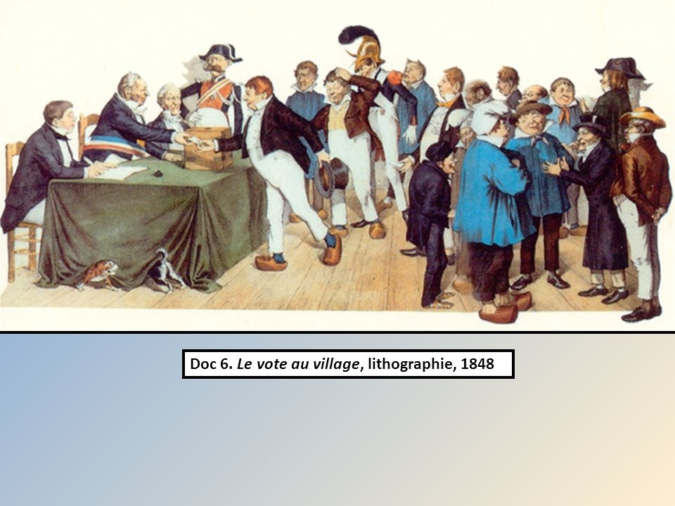 Doc 6. Le vote au village, lithographie, 1848