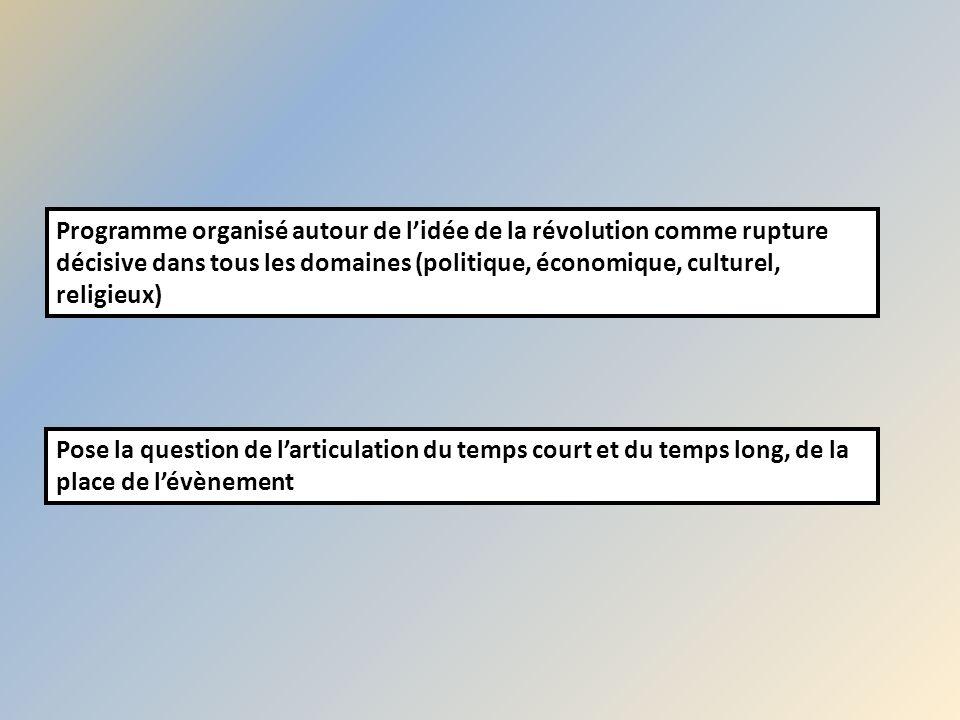 Programme organisé autour de l'idée de la révolution comme rupture décisive dans tous les domaines (politique, économique, culturel, religieux)