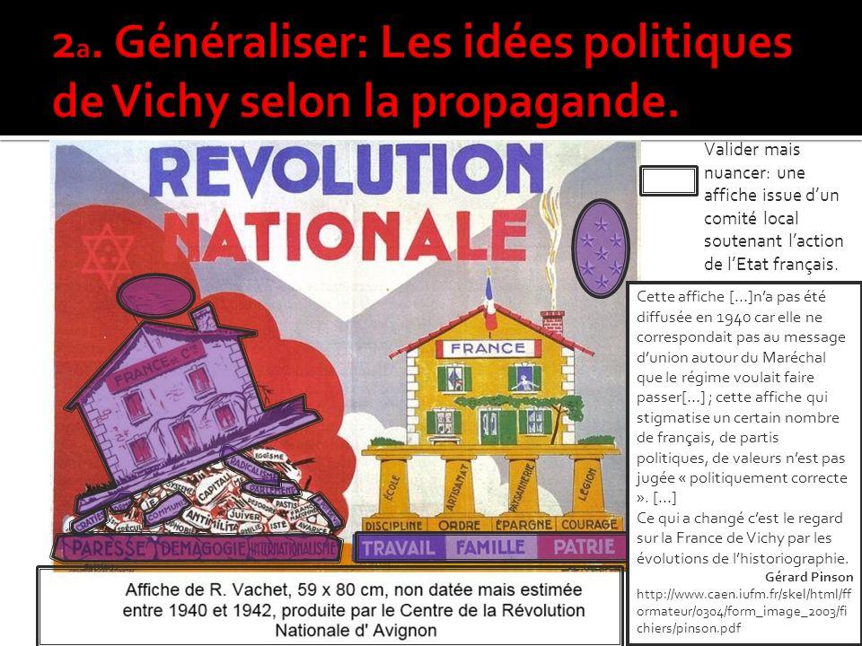 2a. Généraliser: Les idées politiques de Vichy selon la propagande.