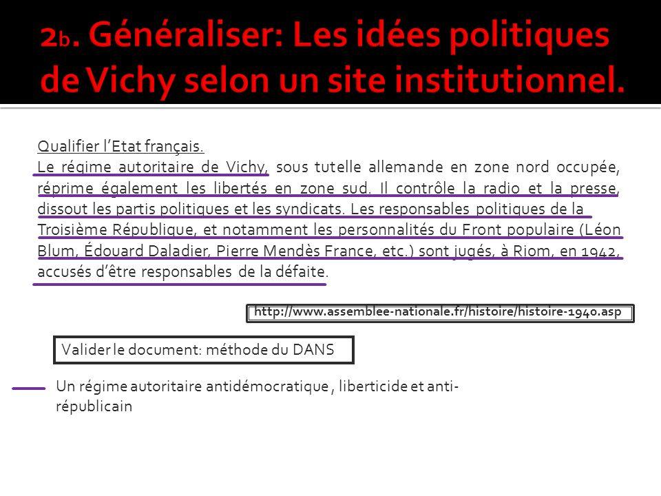 2b. Généraliser: Les idées politiques de Vichy selon un site institutionnel.