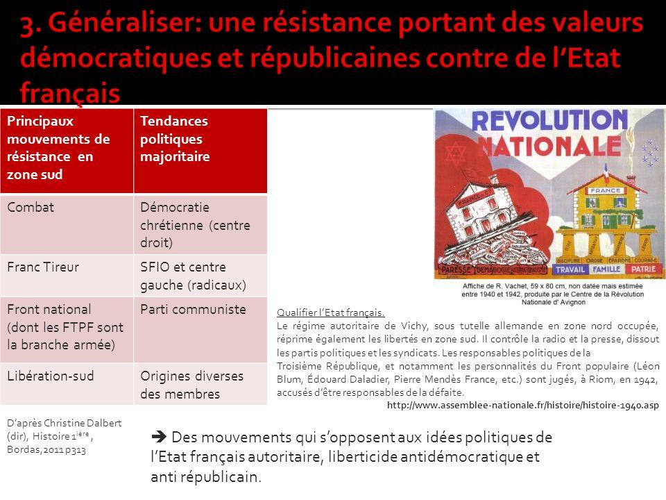 3. Généraliser: une résistance portant des valeurs démocratiques et républicaines contre de l'Etat français