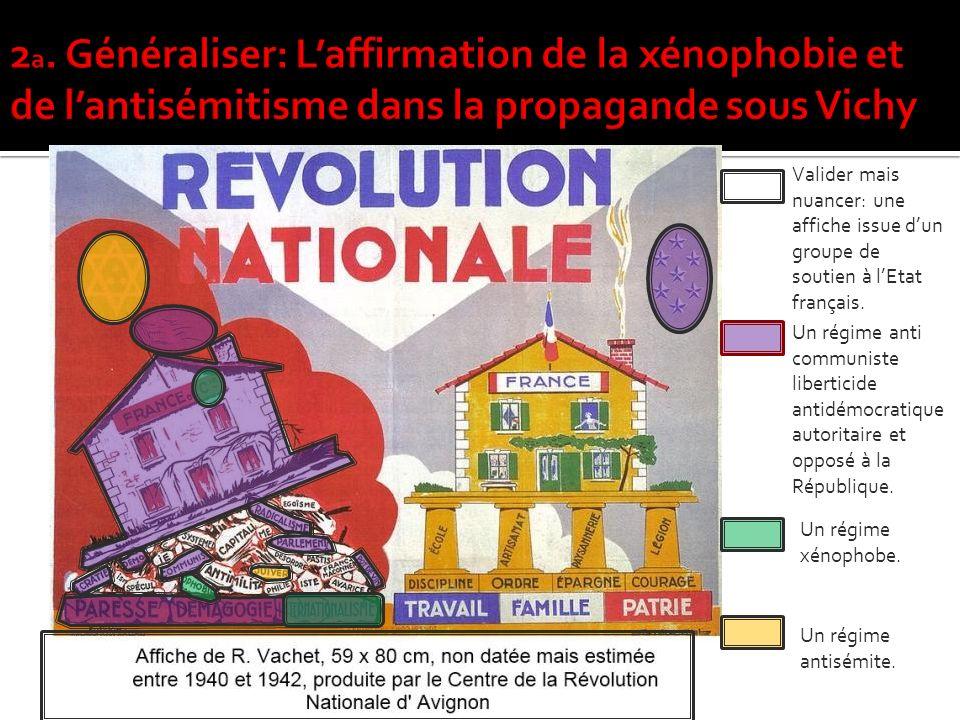 2a. Généraliser: L'affirmation de la xénophobie et de l'antisémitisme dans la propagande sous Vichy