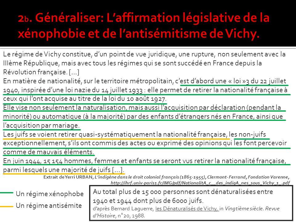 2b. Généraliser: L'affirmation législative de la xénophobie et de l'antisémitisme de Vichy.