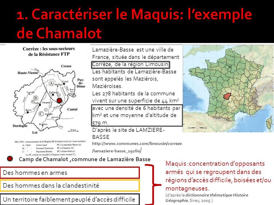 1. Caractériser le Maquis: l'exemple de Chamalot