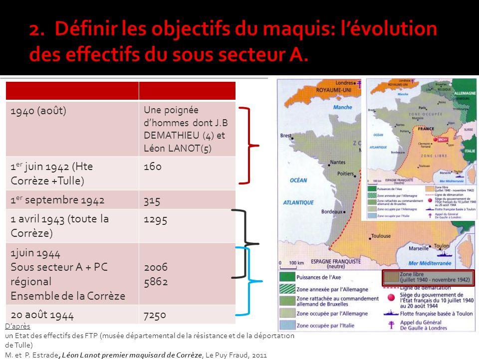 2. Définir les objectifs du maquis: l'évolution des effectifs du sous secteur A.