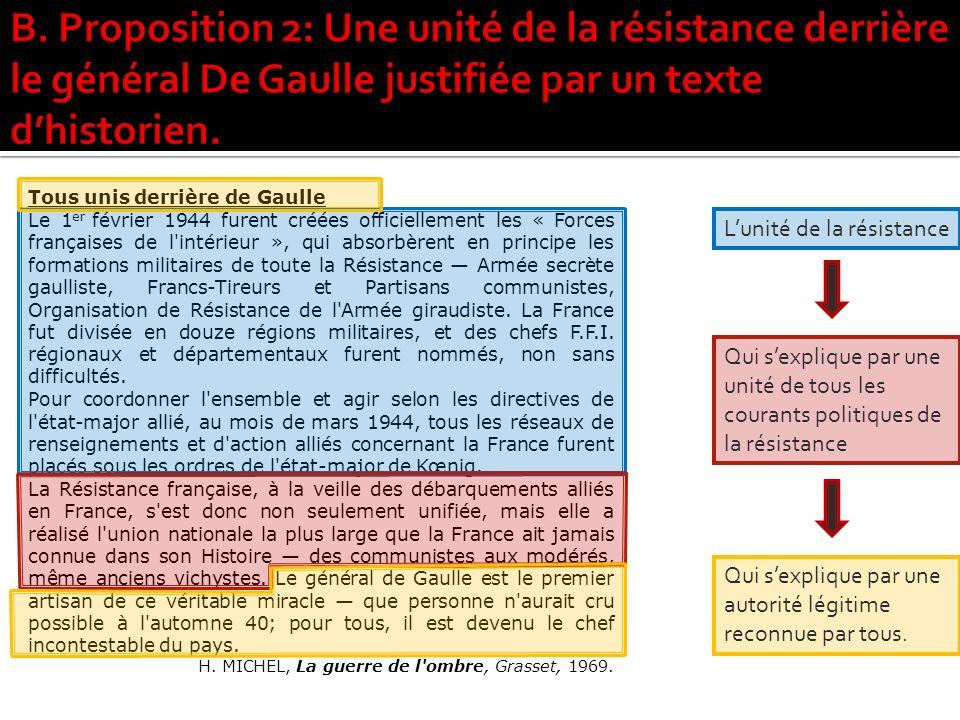 B. Proposition 2: Une unité de la résistance derrière le général De Gaulle justifiée par un texte d'historien.