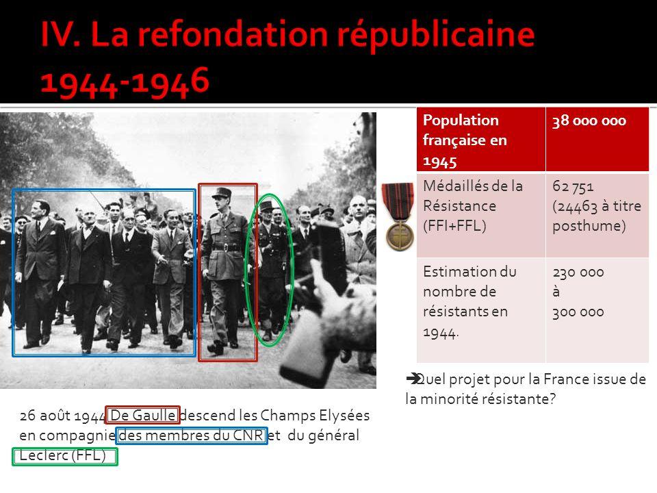 IV. La refondation républicaine 1944-1946