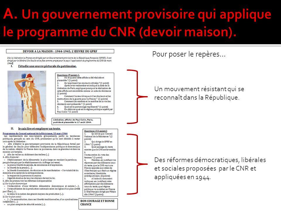A. Un gouvernement provisoire qui applique le programme du CNR (devoir maison).