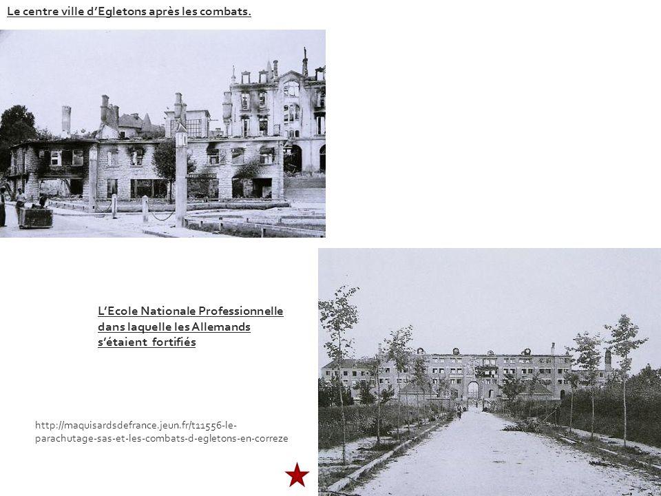 Le centre ville d'Egletons après les combats.