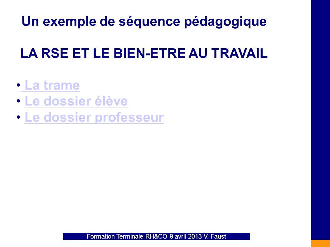 Un exemple de séquence pédagogique LA RSE ET LE BIEN-ETRE AU TRAVAIL