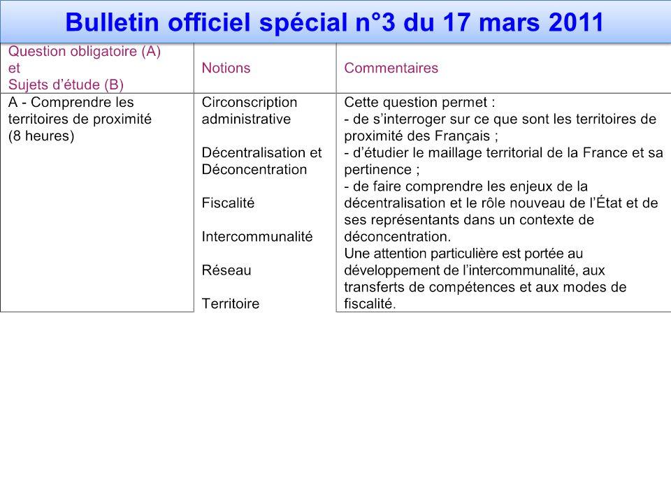 Bulletin officiel spécial n°3 du 17 mars 2011