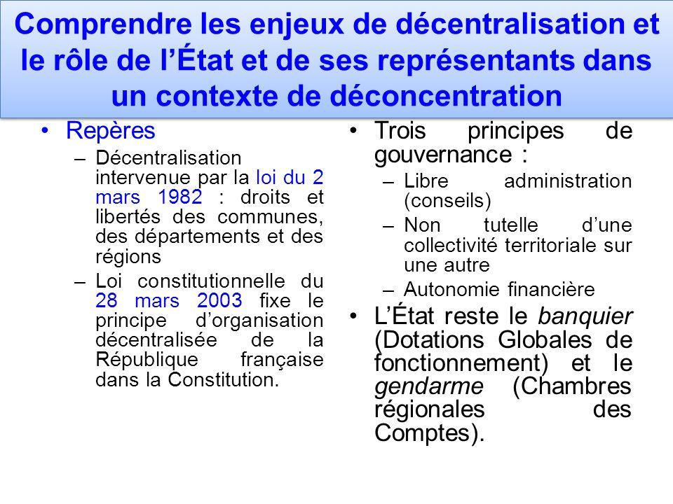 Comprendre les enjeux de décentralisation et le rôle de l'État et de ses représentants dans un contexte de déconcentration