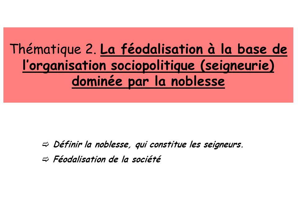 Thématique 2. La féodalisation à la base de l'organisation sociopolitique (seigneurie) dominée par la noblesse