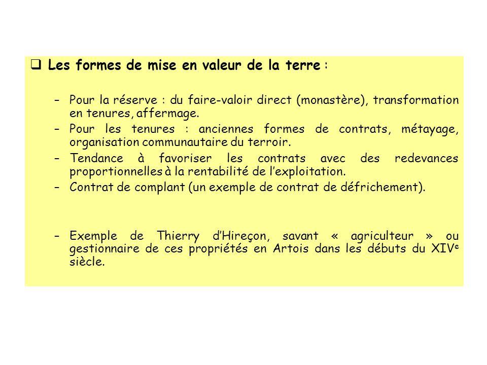 Les formes de mise en valeur de la terre :