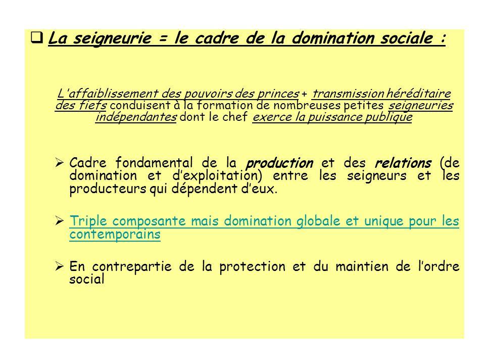 La seigneurie = le cadre de la domination sociale :