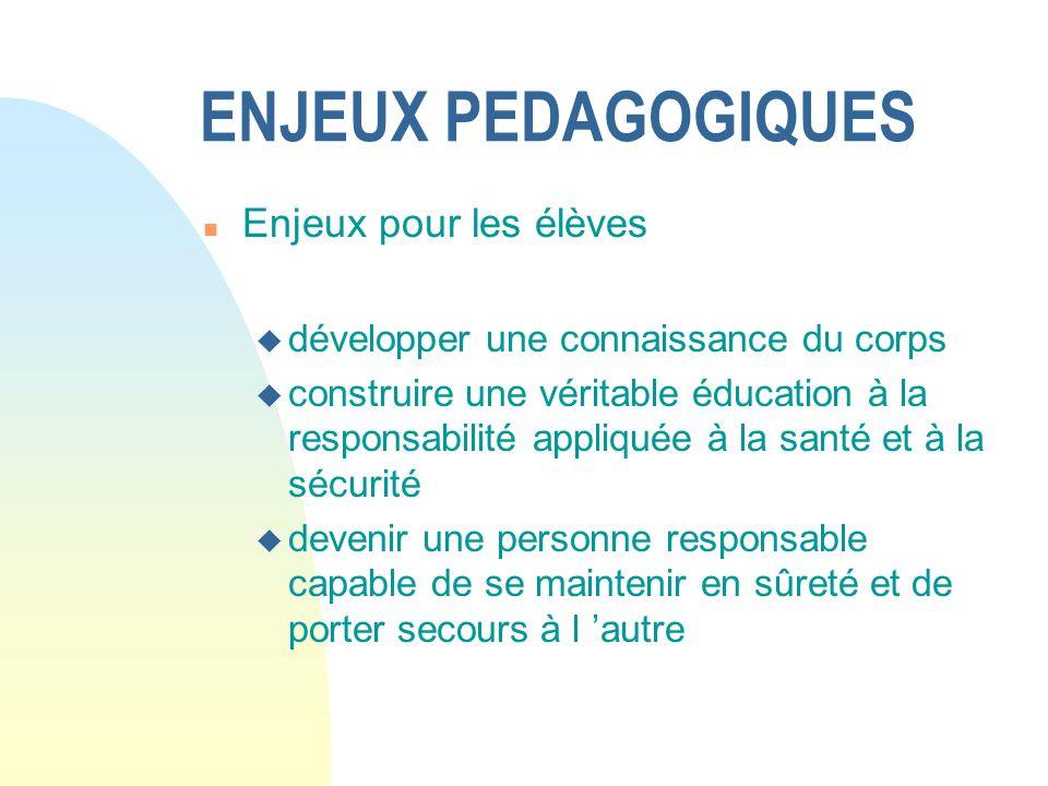 ENJEUX PEDAGOGIQUES Enjeux pour les élèves