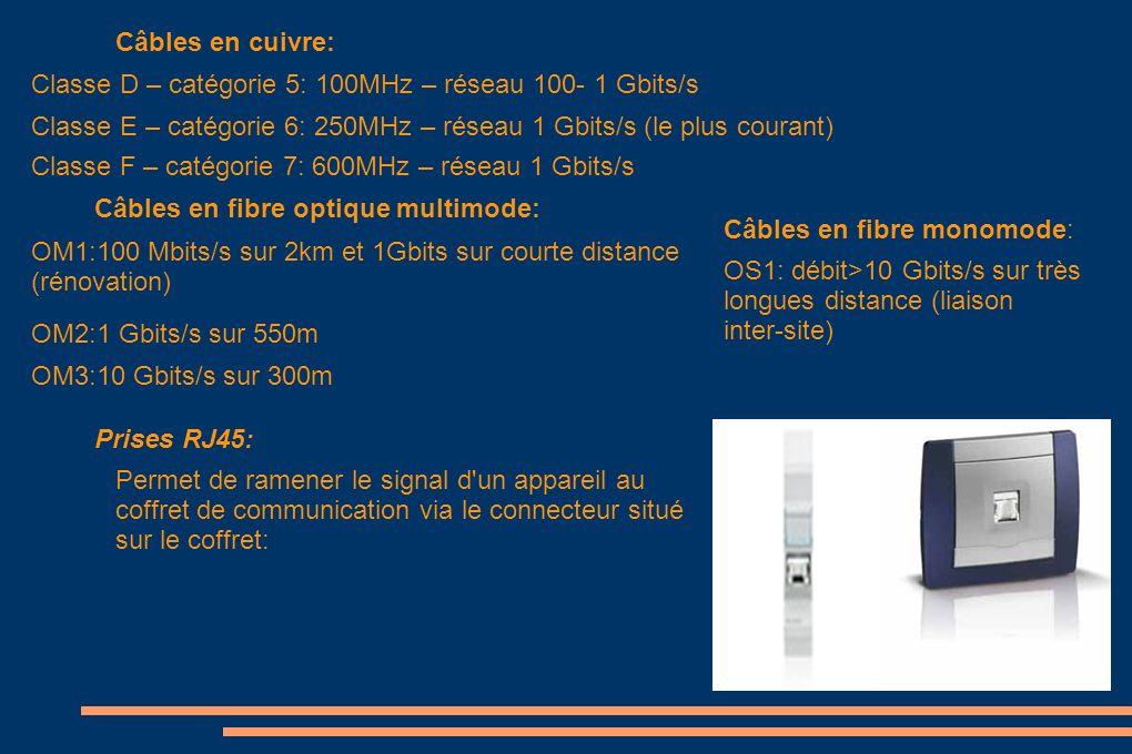 Câbles en cuivre: Classe D – catégorie 5: 100MHz – réseau 100- 1 Gbits/s. Classe E – catégorie 6: 250MHz – réseau 1 Gbits/s (le plus courant)