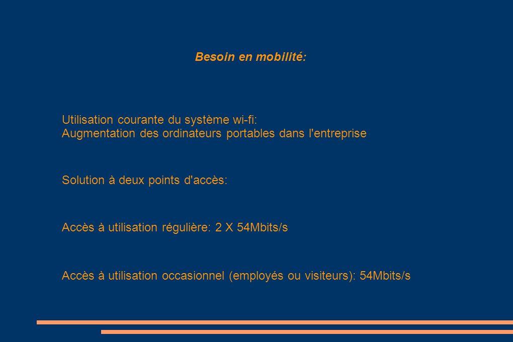 Besoin en mobilité: Utilisation courante du système wi-fi: Augmentation des ordinateurs portables dans l entreprise.