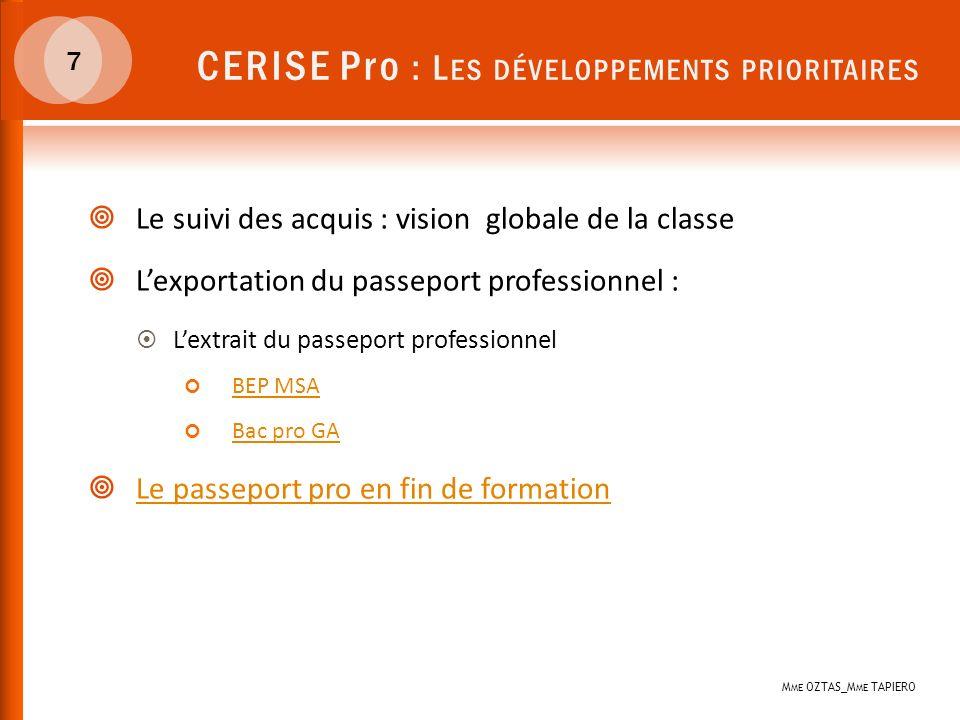 CERISE Pro : Les développements prioritaires