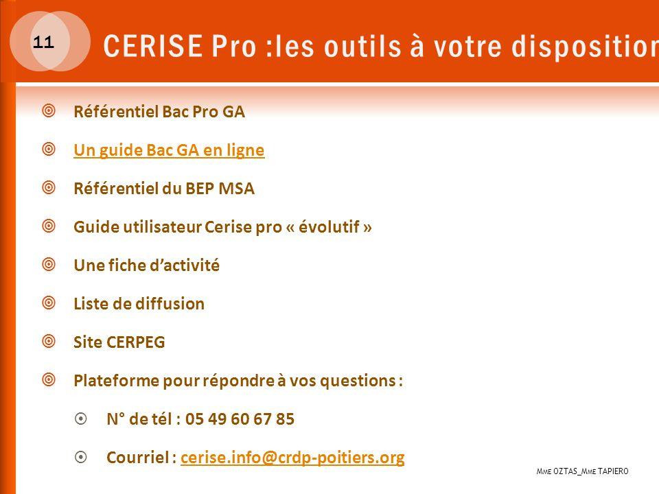 CERISE Pro :les outils à votre disposition