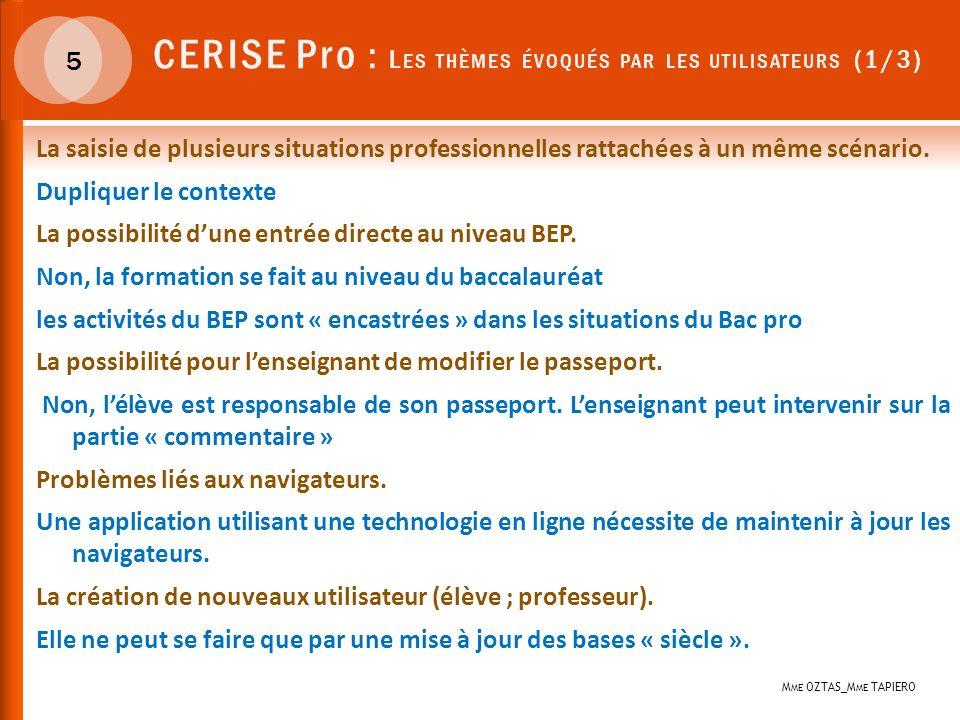 CERISE Pro : Les thèmes évoqués par les utilisateurs (1/3)