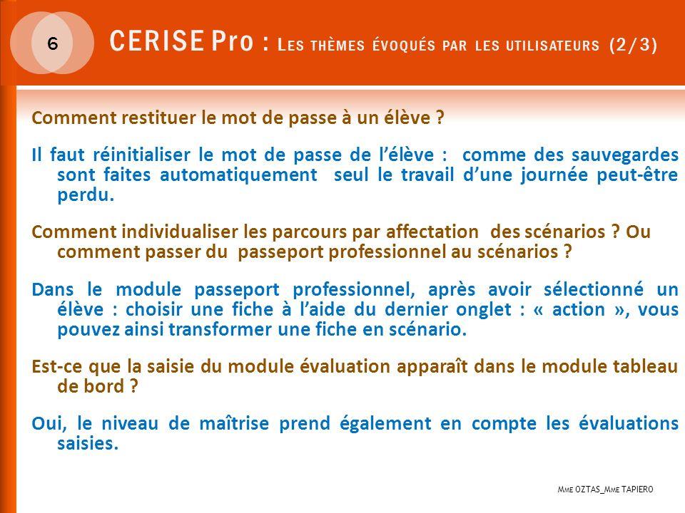 CERISE Pro : Les thèmes évoqués par les utilisateurs (2/3)