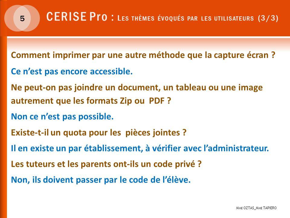 CERISE Pro : Les thèmes évoqués par les utilisateurs (3/3)